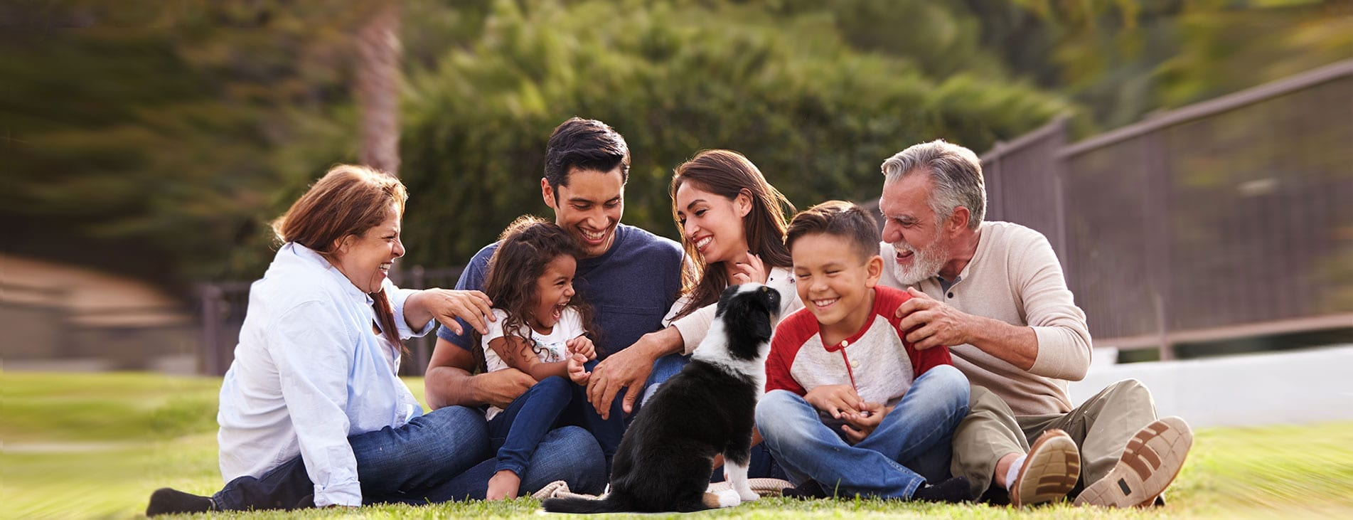 happy diverse family with dog. CBD oil is for everyone